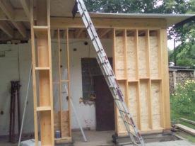 constructie houtskelet met isolatiecompartimenten